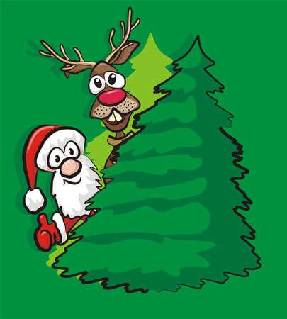 christmas tree, santa and reindeer Stock Vector - 15964082
