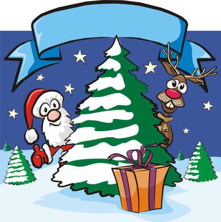 winter wish: christmas eve - santa and reindeer Illustration
