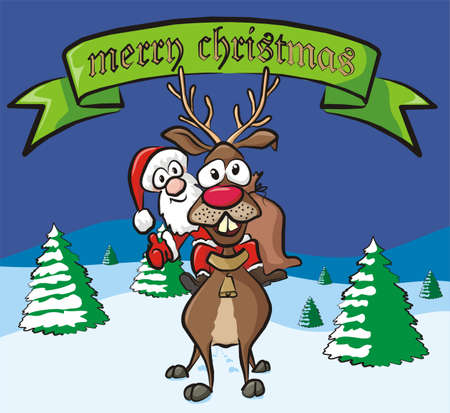 merry christmas - santa and reindeer Stock Vector - 15964080