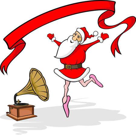 merry dancers: dancing santa claus, gramophone and banner
