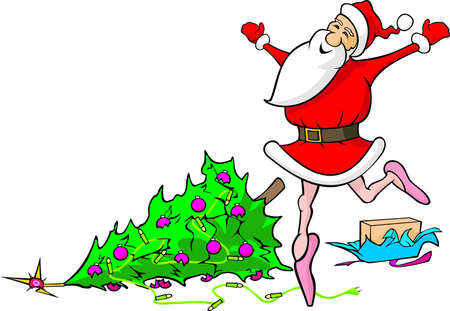 lost in dancing santa claus - demolished christmas Vector