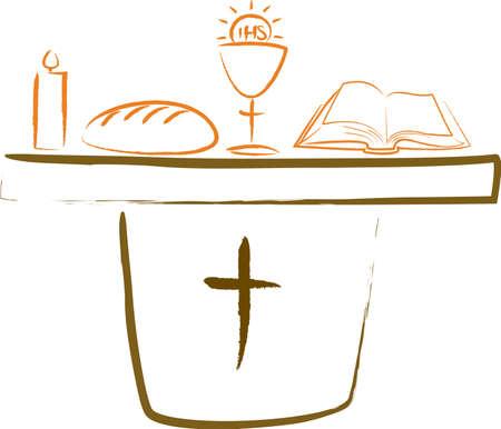 COMUNION: santa comunión - altar y los símbolos religiosos