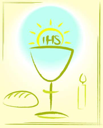 comunione: la mia prima santa comunione - sfondo Vettoriali