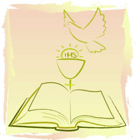 prima comunione: Prima Comunione - spirito santo Vettoriali