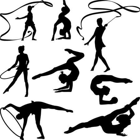 rhythmic gymnastics - silhouette Vectores