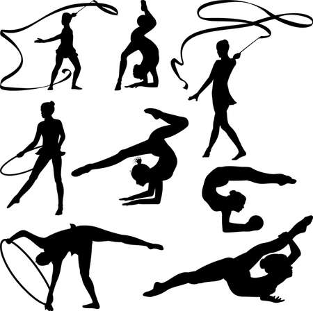 female athletes: rhythmic gymnastics - silhouette Illustration