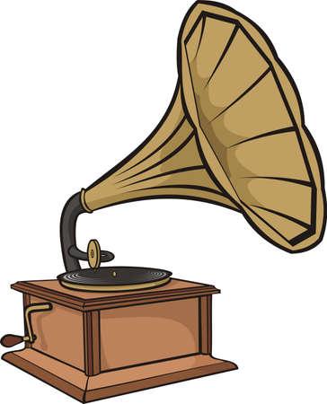 phonograph: phonograph - vintage gramophone Illustration