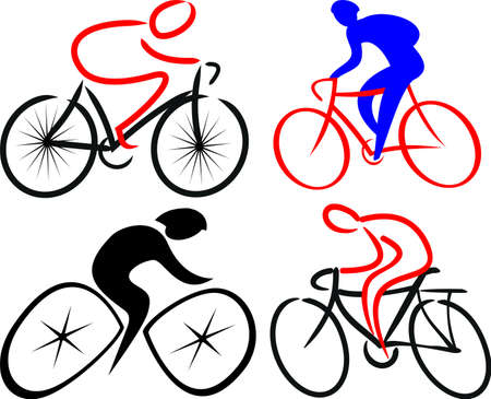 bicycling: cyclist, bicyclist - silhouettes Illustration