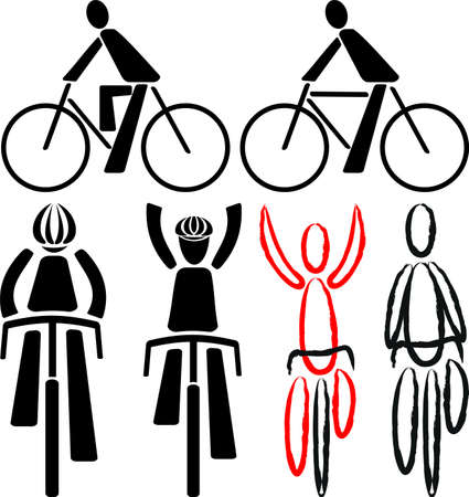 cycling race: bicyclist - signs and silhouettes