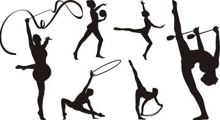 gymnastics girl: rhythmic gymnastics with apparatus - silhouette
