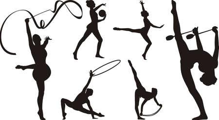 rhythmische sportgymnastik: rhythmische Gymnastik mit Ger�ten - Silhouette