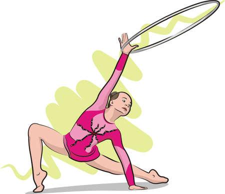 gymnastics silhouette: rhythmic gymnastics - hoop