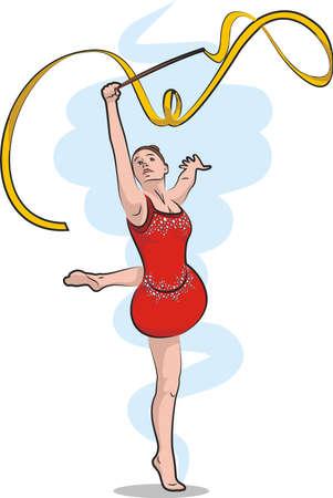 floor mat: rhythmic gymnastics - ribbon Illustration