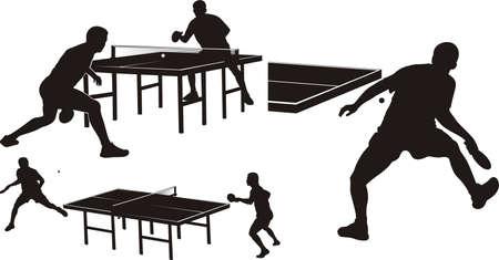 tenis: tenis de mesa - siluetas Vectores