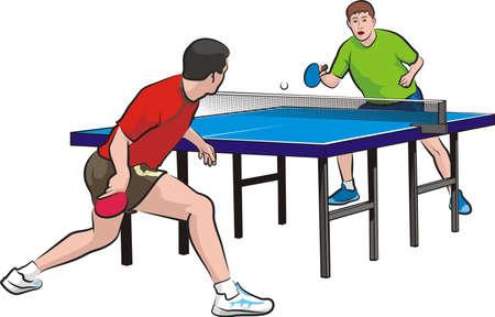 두 선수는 탁구를 재생