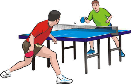table set: two players play table tennis