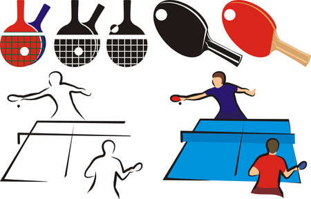table tennis - equipment and silhouette Illustration