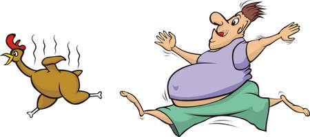 fat man: gordo persiguiendo un pollo a la parrilla Vectores