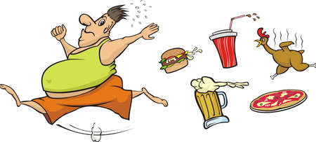 morbid: fat man runs away from unhealthy food Illustration