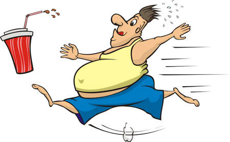 calorie: fat man chasing a calorie beverage Illustration