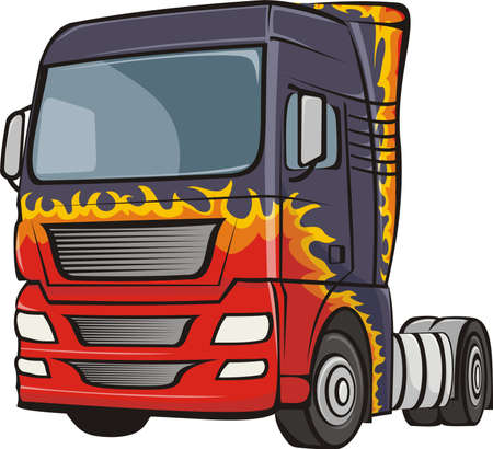 truck with the body in flames Stock Vector - 16951039