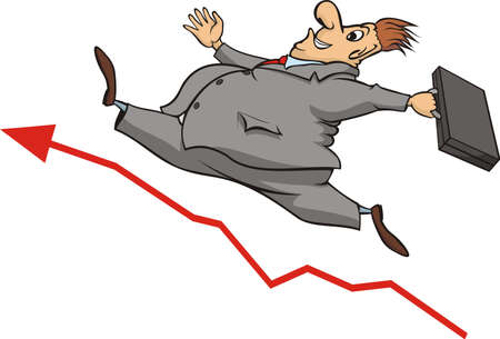 sweaty: buisnessman and increase in the stock market Illustration