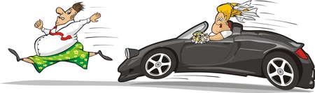 bride groom car chase Vector