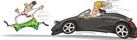 unhappy man: bride groom car chase