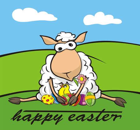 pasen schaap: happy easter - lam en kuiken Stock Illustratie