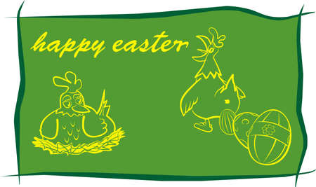 happy easter - green background Vector