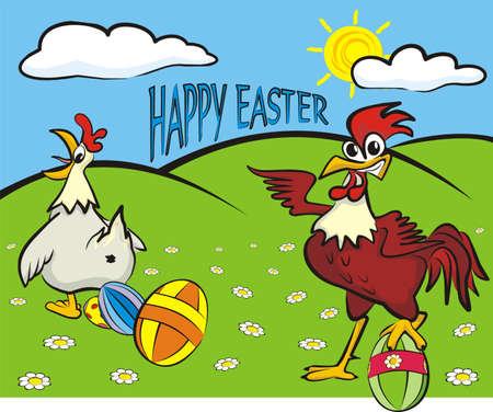 happy easter - painted eggs, hen and rooster Vector