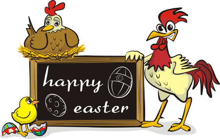 happy easter - chicken family Vector