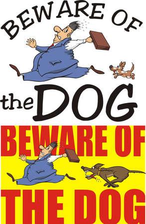 dog bite: beware of the dog - warning sign Illustration