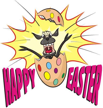 frighten: surprise easter egg with screaming lamb Illustration
