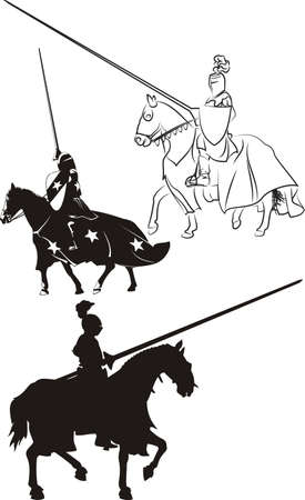 ナイト: 馬の上でアイコンとシルエット中世の騎士
