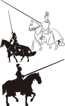 caballero medieval: caballero medieval a caballo - icono y siluetas