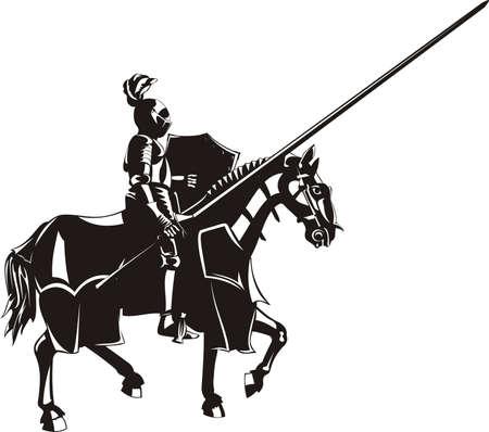 middeleeuwse ridder te paard