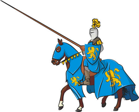 medieval knight on horseback Vector