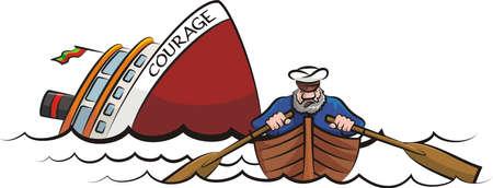 kapitein vluchtte het zinkende schip