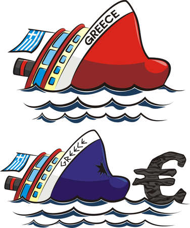 sinking greece - currency crisis in the euro zone Stock Vector - 18334723