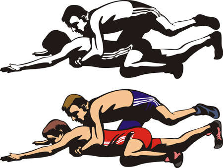 clinch: fighting wrestlers Illustration