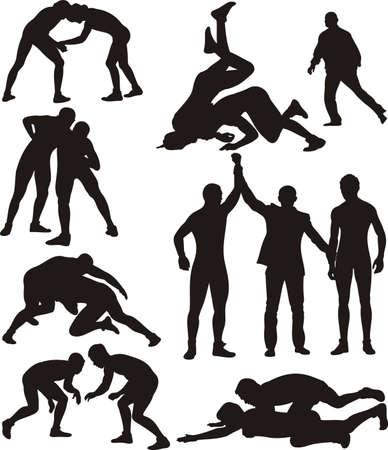 worstelen silhouetten Stock Illustratie
