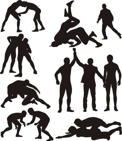 muscle arm: wrestling silhouettes