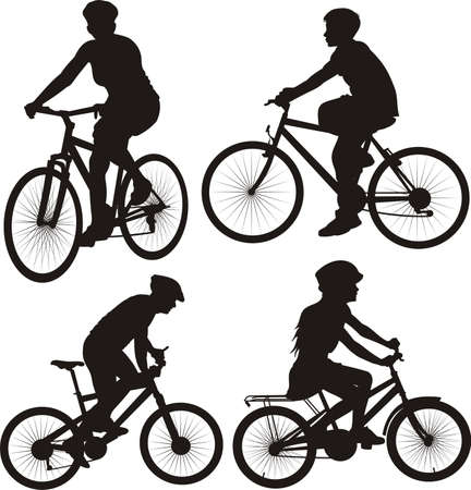 cycling silhouette: bike, cyclist - icon