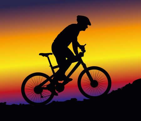 mountain bike: downhill mountain biking - background Illustration
