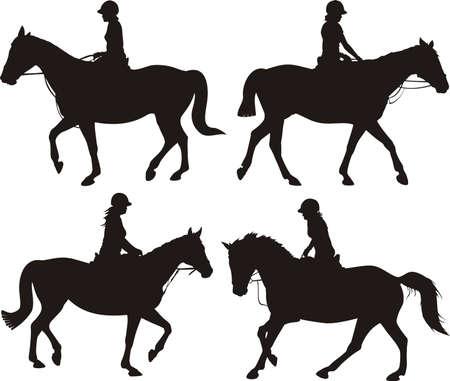 silueta ciclista: Chica a caballo - vector pc siluetas