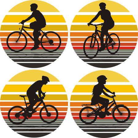 mtb:  cyclists silhouettes on the background