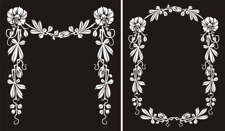 balck: floral frame - balck and white