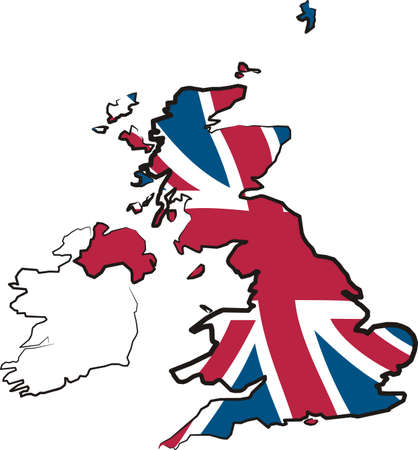 ireland map: great britain - map and flag Illustration