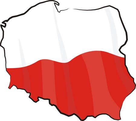 kelet európa: Lengyelország - térkép és zászló Illusztráció